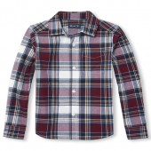 Boys Long Sleeve Plaid Poplin Button-Down Shirt