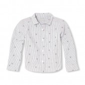 Boys Long Sleeve Skull Print Poplin Button-Down Shirt