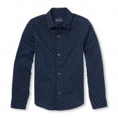 Boys Long Sleeve Printed Poplin Button-Down Shirt