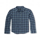 Boys Long Sleeve Blue Plaid Oxford Button-Down Shirt
