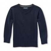 Baby And Toddler Boys Long Sleeve Solid V-Neck Sweater