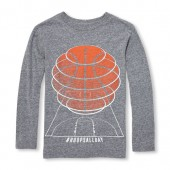 Boys Long Sleeve Hashtag Hoops All Day Basketball Graphic Tee