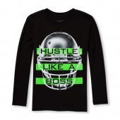 Boys Long Sleeve Hustle Like A Boss Graphic Tee