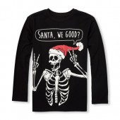 Boys Long Sleeve Glow-In-The-Dark Santa We Good? Skeleton Graphic Tee