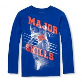 Boys Long Sleeve Major Skills Football Graphic Tee