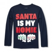 Boys Long Sleeve Santa Is My Homie Graphic Tee