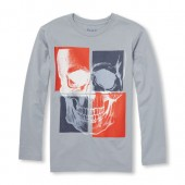 Boys Long Sleeve Contrast Skull Graphic Tee