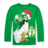 Boys Long Sleeve Christmas Dino Graphic Tee