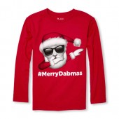 Boys Long Sleeve Dancing Santa Graphic Tee