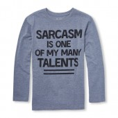 Boys Long Sleeve Sarcasm Graphic Tee