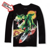 Boys Long Sleeve Dino Animated Graphic Tee