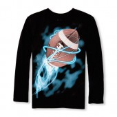 Boys Long Sleeve Lighting Football Graphic Tee