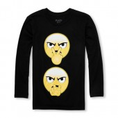 Boys Long Sleeve Emoji Graphic Tee