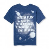 Boys Short Sleeve Master Plan Space Graphic Tee