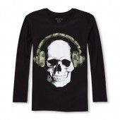 Boys Long Sleeve Skull Graphic Tee