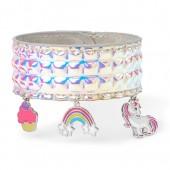 Girls Unicorn Charm Holographic Slap Bracelet