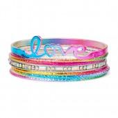 Girls Rainbow LOVE Bangle Bracelet 7-Pack