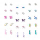 Girls Rainbow Unicorn Earrings 15-Pack