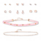 Girls Heart Necklace And Earrings 9-Piece Set