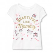 Baby And Toddler Girls Short Sleeve Glitter 'Beautiful Like Mommy' Graphic Tee