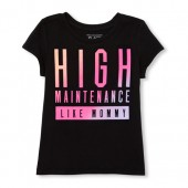 Baby And Toddler Girls Short Sleeve 'High Maintenance' Graphic Tee