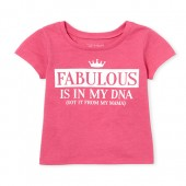 Baby And Toddler Girls Short Sleeve 'Fabulous Is In My DNA' Neon Graphic Tee