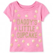 Baby And Toddler Girls Short Sleeve Glitter 'Daddy's Little Cupcake' Graphic Tee