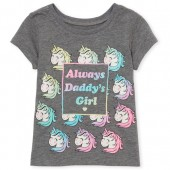 Baby And Toddler Girls Short Sleeve Glitter 'Always Daddy's Girl' Unicorn Graphic Tee
