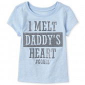 Baby And Toddler Girls Short Sleeve Glitter 'I Melt Daddy's Heart' Graphic Tee