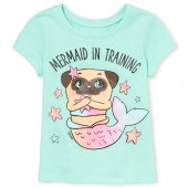 Baby And Toddler Girls Short Sleeve 'Mermaid In Training' Graphic Tee