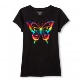 Girls Short Sleeve Foil Rainbow Butterfly Graphic Tee