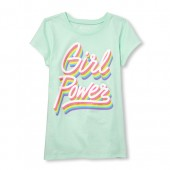 Girls Short Sleeve Glitter 'Girl Power' Graphic Tee