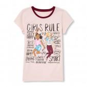 Girls Short Sleeve 'Girls Rule' Graphic Tee
