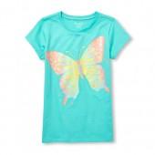 Girls Short Sleeve Glitter Butterfly Graphic Tee
