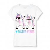 Girls Short Sleeve Glitter 'Hashtag Sister Vibes' Dancing Unicorns Graphic Tee