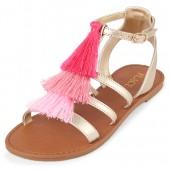 Girls Tassel Metallic Gladiator Sandals