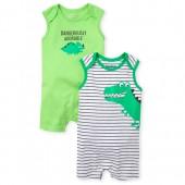 Baby Boys Sleeveless Dino Knit Romper 2-Pack