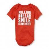 Baby Boys Short Sleeve 'Million Dollar Smile' Graphic Bodysuit