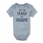 Baby Boys Short Sleeve 'I Put The Grand In Grandpa' Graphic Bodysuit