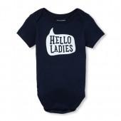 Baby Boys Short Sleeve 'Hello Ladies' Graphic Bodysuit