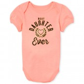 Baby Girls Mommy and Me Short Sleeve Foil 'Best Daughter Ever' Matching Graphic Bodysuit
