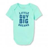 Baby Boys Short Sleeve 'Little Guy Big Dreams' Graphic Bodysuit