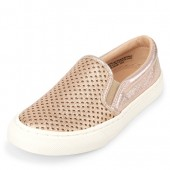 Girls Perforated Metallic Slip On Shoes