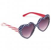 Toddler Girls Americana Glitter Heart Frame Sunglasses