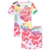 Girls Short Sleeve Glitter 'Hashtag Sleeping Beauty' Floral Print Top And Shorts Snug Fit Pajamas