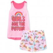 Girls 'Girls Are The Future' Rainbow Tank Top And Tie Dye Shorts Pajamas