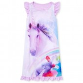 Girls Short Flutter Sleeve Tropical Unicorn Nightgown