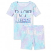 Girls Short Sleeve Foil 'I'd Rather Be A Mermaid' Tie Dye Top And Shorts Snug Fit Pajamas