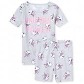 Girls Short Sleeve Glow In The Dark 'Unicorn Power' Print Top And Shorts Snug Fit Pajamas