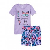 Girls Short Sleeve 'LOVE' Butterfly Top And Print Shorts Snug Fit Pajamas